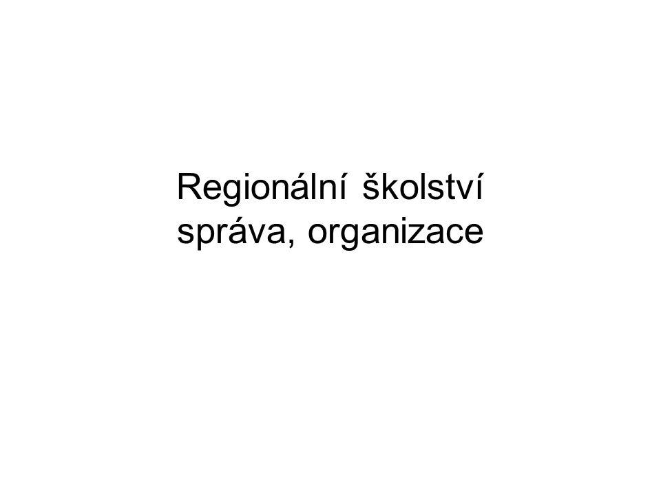 Organizace regionálního školství ISCED 0 – ISCED 4 (ISCED 5 B) MŠ ZŠ SŠ VOŠ Školský zákon