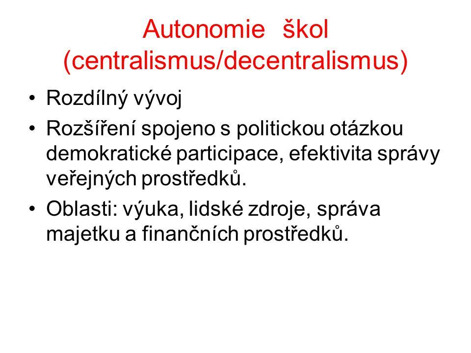 Autonomie škol (centralismus/decentralismus) Rozdílný vývoj Rozšíření spojeno s politickou otázkou demokratické participace, efektivita správy veřejný
