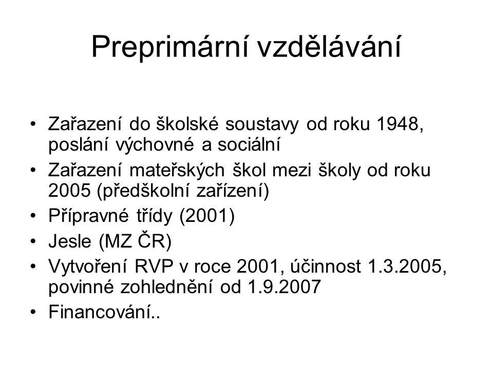 Preprimární vzdělávání Zařazení do školské soustavy od roku 1948, poslání výchovné a sociální Zařazení mateřských škol mezi školy od roku 2005 (předšk