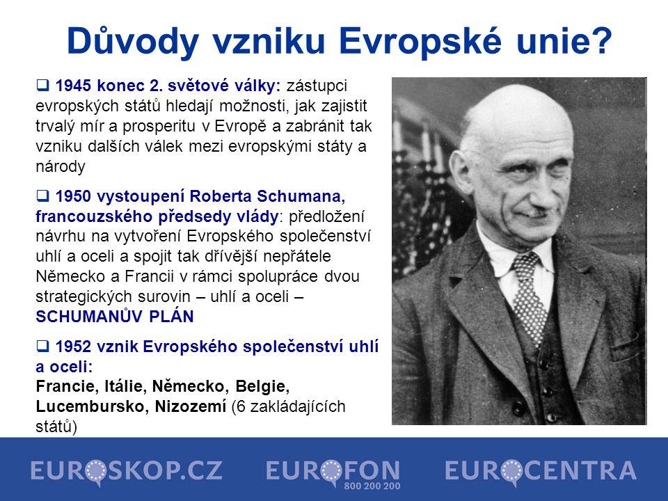 Důvody vzniku Evropské unie?  1945 konec 2. světové války: zástupci evropských států hledají možnosti, jak zajistit trvalý mír a prosperitu v Evropě