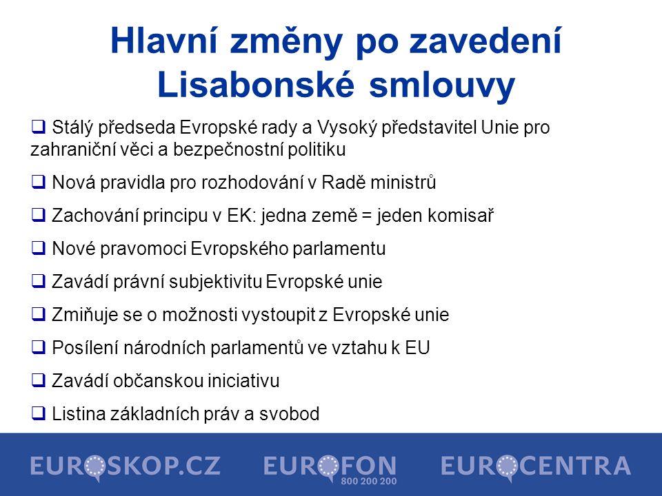 Hlavní změny po zavedení Lisabonské smlouvy  Stálý předseda Evropské rady a Vysoký představitel Unie pro zahraniční věci a bezpečnostní politiku  No