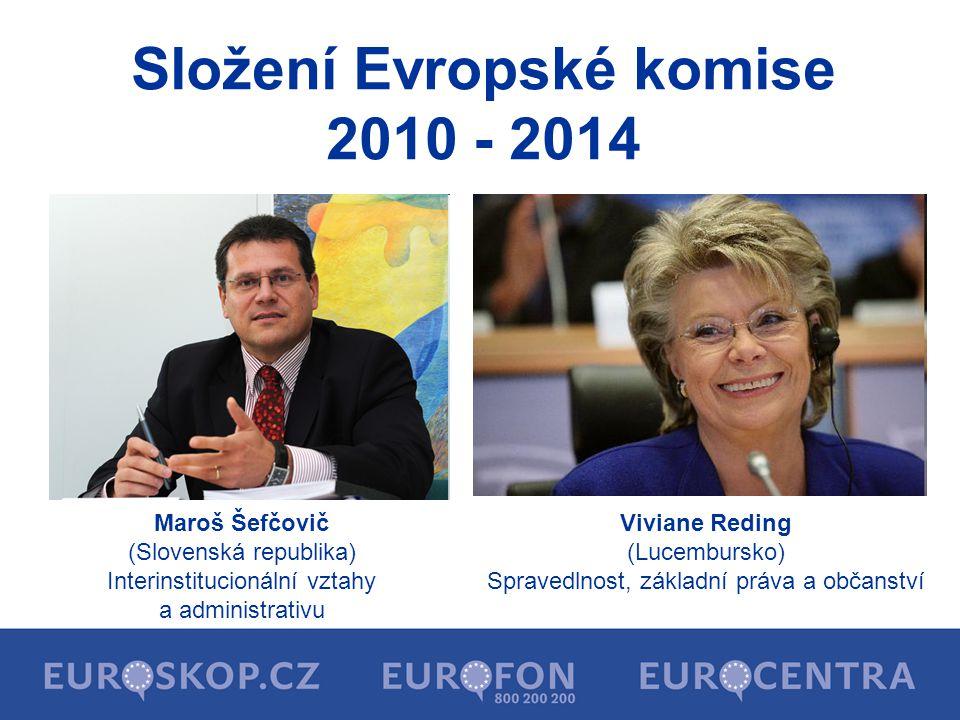 Složení Evropské komise 2010 - 2014 Maroš Šefčovič (Slovenská republika) Interinstitucionální vztahy a administrativu Viviane Reding (Lucembursko) Spr