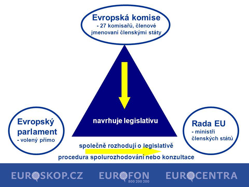 Evropská komise - 27 komisařů, členové jmenovaní členskými státy Evropský parlament - volený přímo Rada EU - ministři členských států společně rozhodu