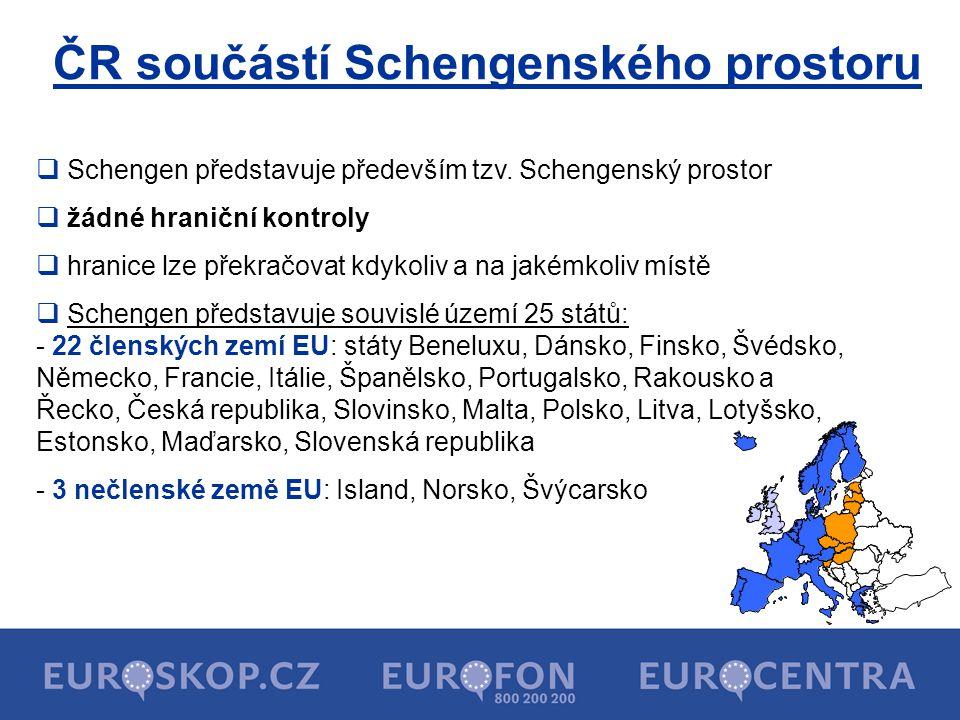 ČR součástí Schengenského prostoru  Schengen představuje především tzv. Schengenský prostor  žádné hraniční kontroly  hranice lze překračovat kdyko