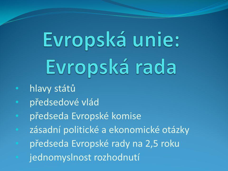 hlavy států předsedové vlád předseda Evropské komise zásadní politické a ekonomické otázky předseda Evropské rady na 2,5 roku jednomyslnost rozhodnutí