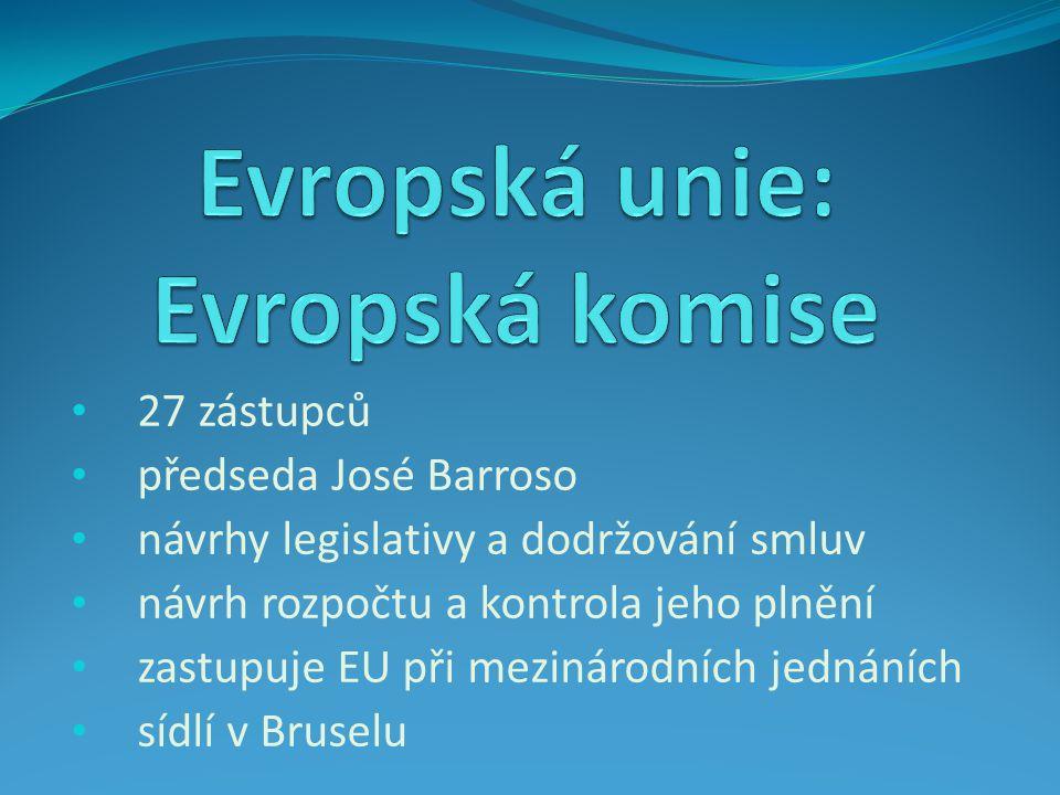 27 zástupců předseda José Barroso návrhy legislativy a dodržování smluv návrh rozpočtu a kontrola jeho plnění zastupuje EU při mezinárodních jednáních sídlí v Bruselu