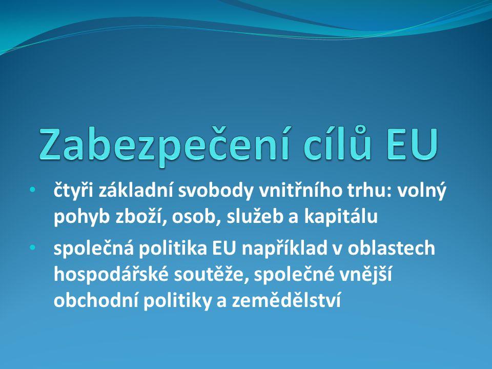 čtyři základní svobody vnitřního trhu: volný pohyb zboží, osob, služeb a kapitálu společná politika EU například v oblastech hospodářské soutěže, společné vnější obchodní politiky a zemědělství