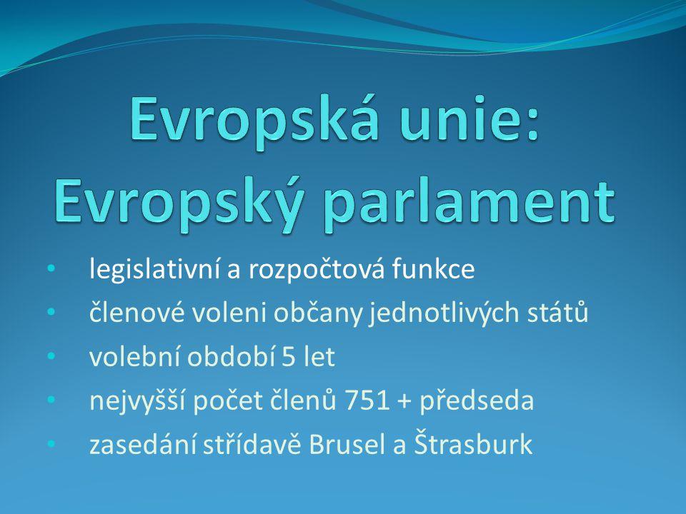 legislativní a rozpočtová funkce členové voleni občany jednotlivých států volební období 5 let nejvyšší počet členů 751 + předseda zasedání střídavě Brusel a Štrasburk