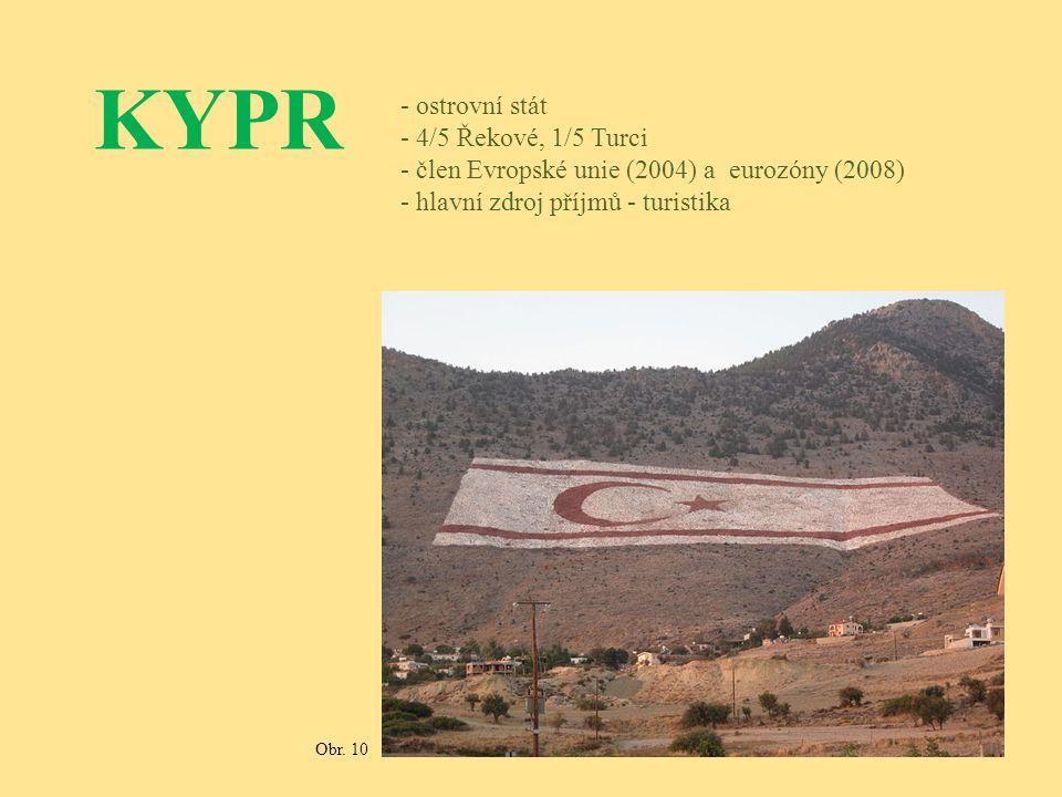 KYPR - ostrovní stát - 4/5 Řekové, 1/5 Turci - člen Evropské unie (2004) a eurozóny (2008) - hlavní zdroj příjmů - turistika Obr. 10
