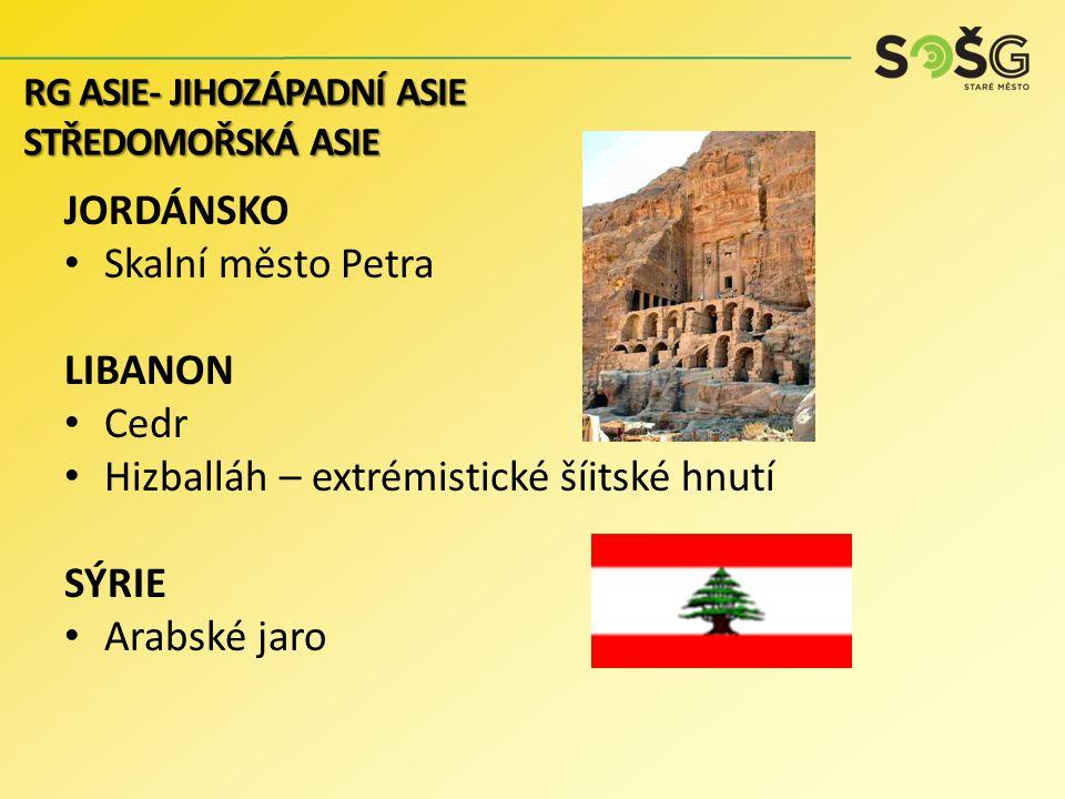 JORDÁNSKO Skalní město Petra LIBANON Cedr Hizballáh – extrémistické šíitské hnutí SÝRIE Arabské jaro RG ASIE- JIHOZÁPADNÍ ASIE STŘEDOMOŘSKÁ ASIE