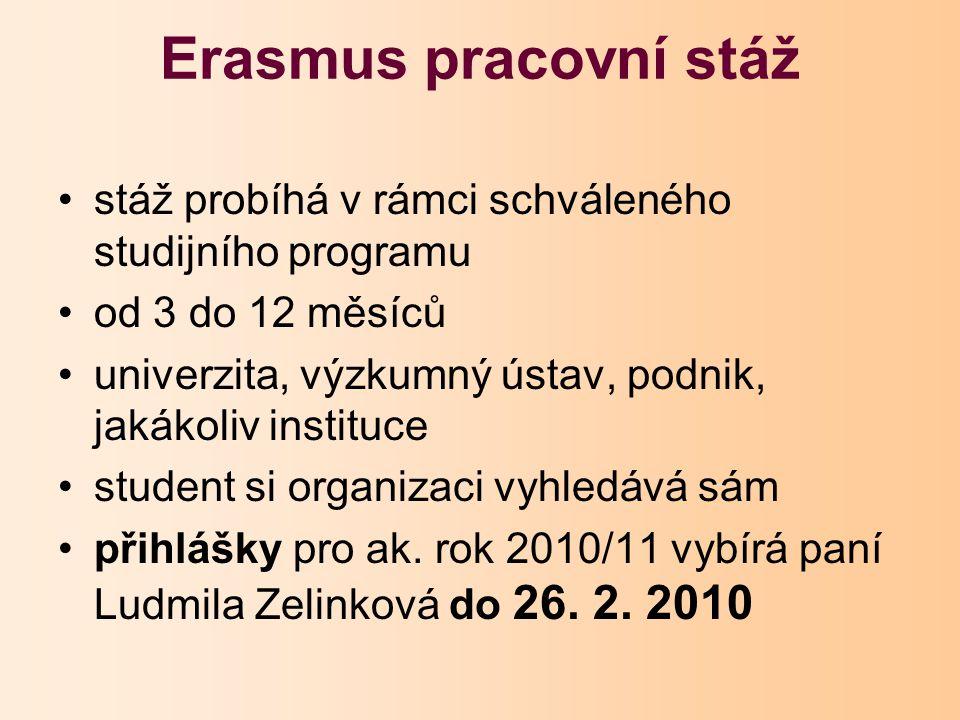 Erasmus pracovní stáž stáž probíhá v rámci schváleného studijního programu od 3 do 12 měsíců univerzita, výzkumný ústav, podnik, jakákoliv instituce student si organizaci vyhledává sám přihlášky pro ak.