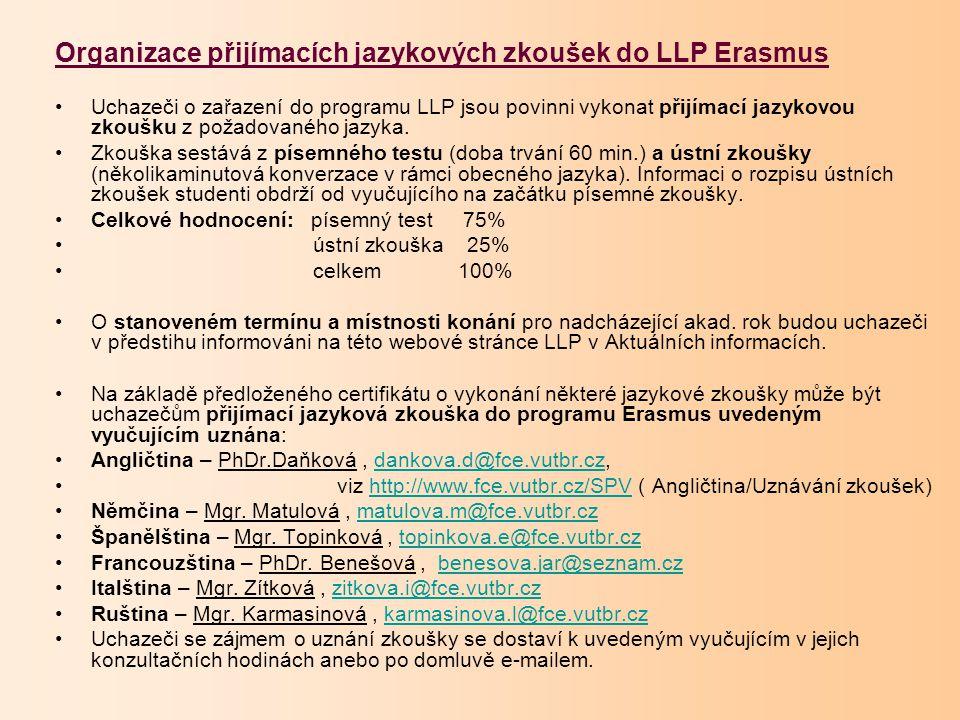 Organizace přijímacích jazykových zkoušek do LLP Erasmus Uchazeči o zařazení do programu LLP jsou povinni vykonat přijímací jazykovou zkoušku z požadovaného jazyka.