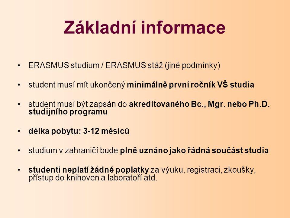 Základní informace ERASMUS studium / ERASMUS stáž (jiné podmínky) student musí mít ukončený minimálně první ročník VŠ studia student musí být zapsán do akreditovaného Bc., Mgr.