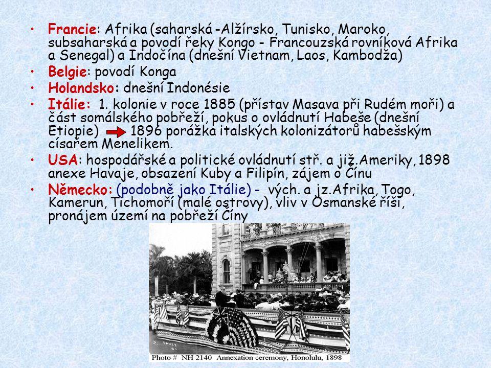 Francie: Afrika (saharská -Alžírsko, Tunisko, Maroko, subsaharská a povodí řeky Kongo - Francouzská rovníková Afrika a Senegal) a Indočína (dnešní Vietnam, Laos, Kambodža) Belgie: povodí Konga Holandsko: dnešní Indonésie Itálie: 1.