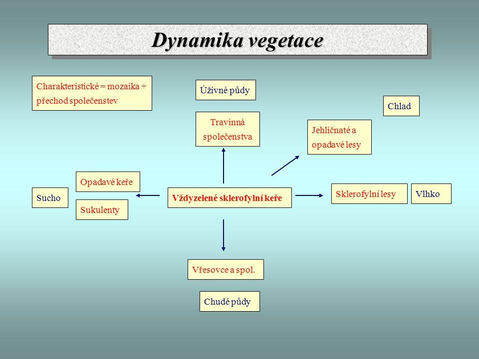 Dynamika vegetace Vždyzelené sklerofylní keře Chudé půdy Úživné půdy Vlhko Sucho Chlad Vřesovce a spol.