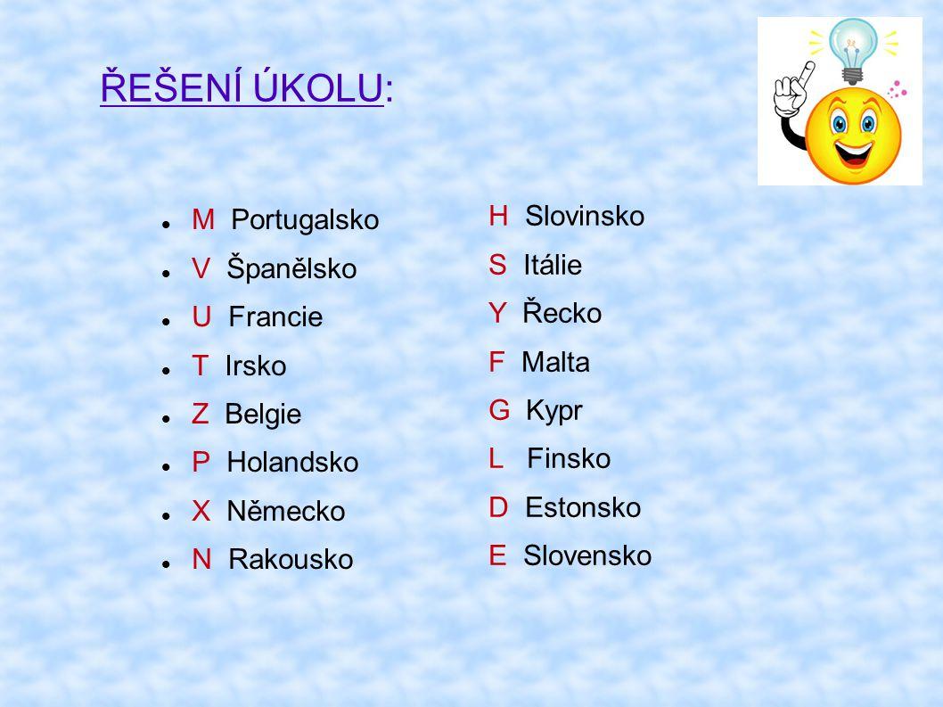 ŘEŠENÍ ÚKOLU: M Portugalsko V Španělsko U Francie T Irsko Z Belgie P Holandsko X Německo N Rakousko H Slovinsko S Itálie Y Řecko F Malta G Kypr L Fins