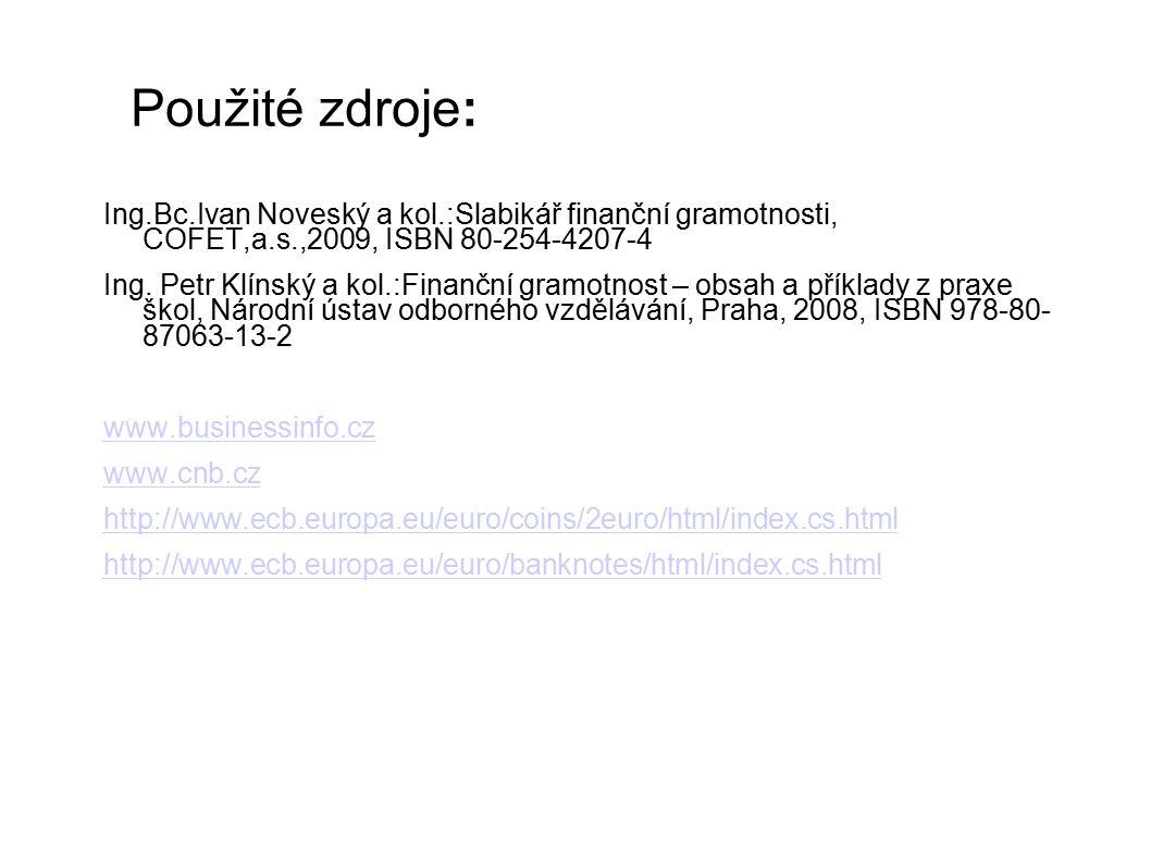 Použité zdroje: Ing.Bc.Ivan Noveský a kol.:Slabikář finanční gramotnosti, COFET,a.s.,2009, ISBN 80-254-4207-4 Ing.