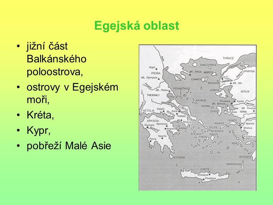 Egejská oblast jižní část Balkánského poloostrova, ostrovy v Egejském moři, Kréta, Kypr, pobřeží Malé Asie