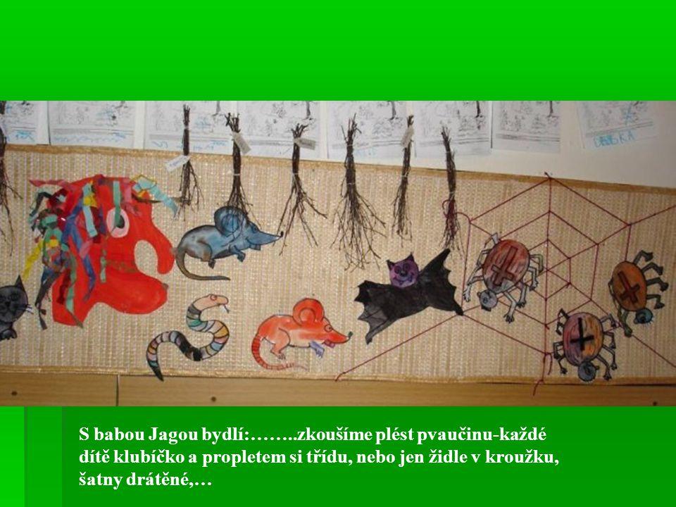 S babou Jagou bydlí:……..zkoušíme plést pvaučinu-každé dítě klubíčko a propletem si třídu, nebo jen židle v kroužku, šatny drátěné,…