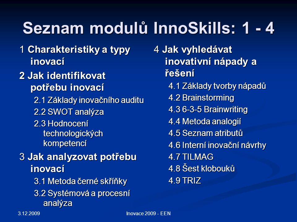 Seznam modulů InnoSkills: 1 - 4 1 Charakteristiky a typy inovací 2 Jak identifikovat potřebu inovací 2.1 Základy inovačního auditu 2.2 SWOT analýza 2.3 Hodnocení technologických kompetencí 3 Jak analyzovat potřebu inovací 3.1 Metoda černé skříňky 3.2 Systémová a procesní analýza 4 Jak vyhledávat inovativní nápady a řešení 4.1 Základy tvorby nápadů 4.2 Brainstorming 4.3 6-3-5 Brainwriting 4.4 Metoda analogií 4.5 Seznam atributů 4.6 Interní inovační návrhy 4.7 TILMAG 4.8 Šest klobouků 4.9 TRIZ 3.12.2009 Inovace 2009 - EEN