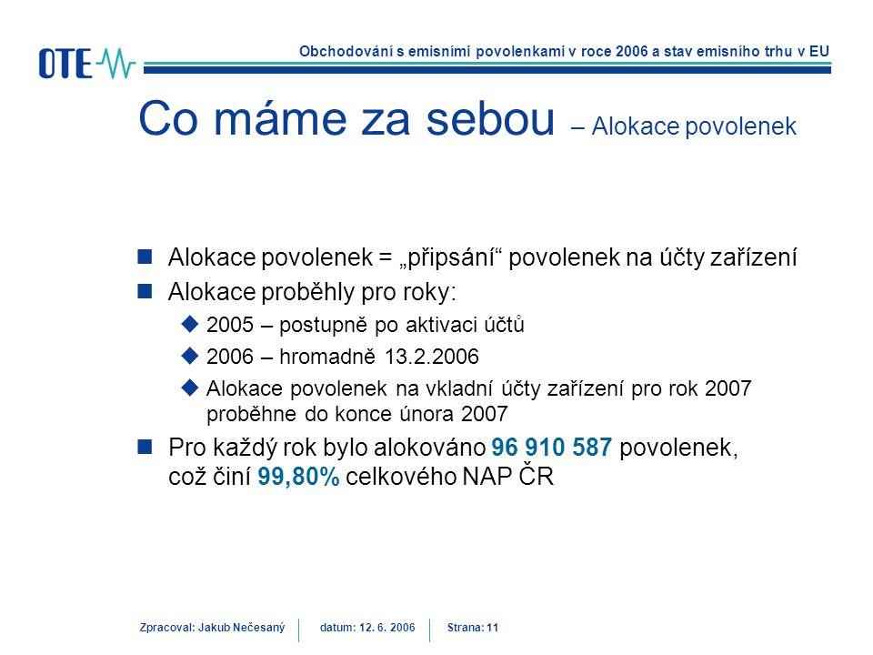 Obchodování s emisními povolenkami v roce 2006 a stav emisního trhu v EU Zpracoval: Jakub Nečesanýdatum: 12. 6. 2006 Strana: 11 Co máme za sebou – Alo