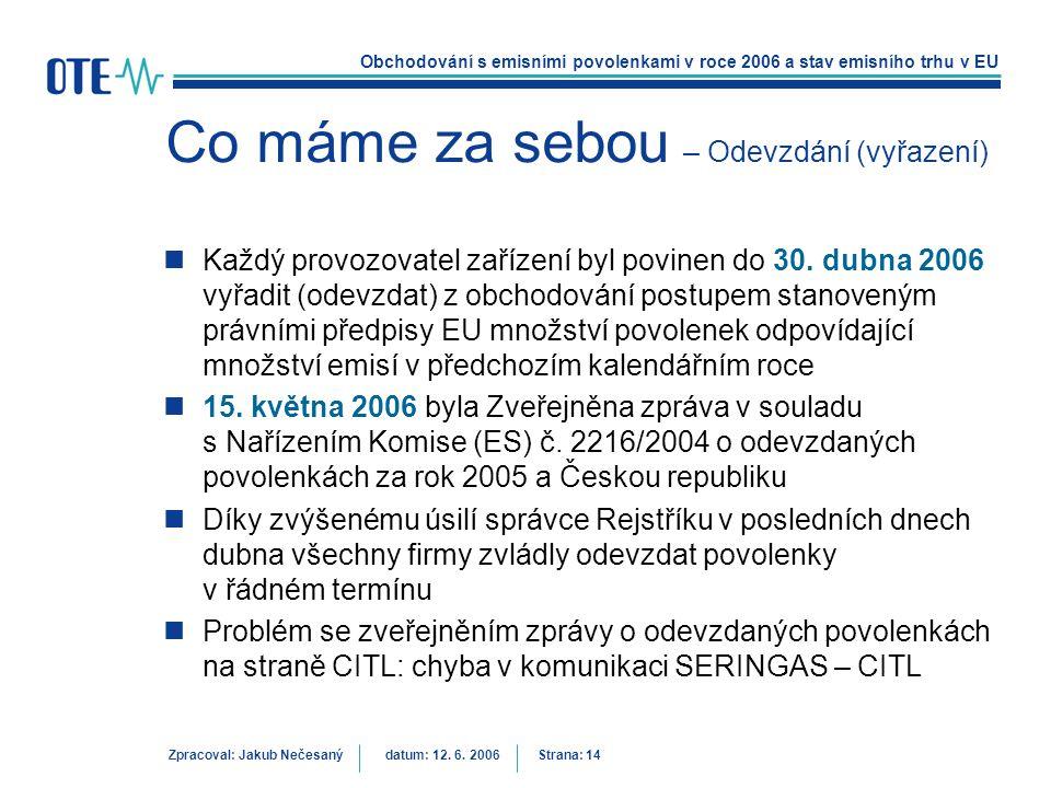 Obchodování s emisními povolenkami v roce 2006 a stav emisního trhu v EU Zpracoval: Jakub Nečesanýdatum: 12. 6. 2006 Strana: 14 Co máme za sebou – Ode