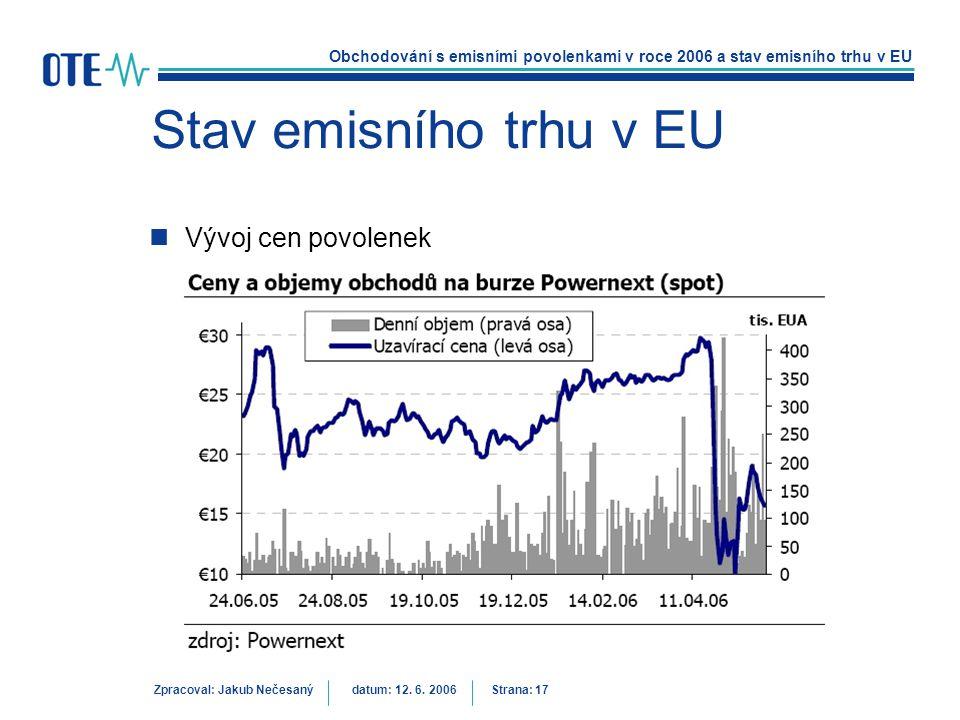 Obchodování s emisními povolenkami v roce 2006 a stav emisního trhu v EU Zpracoval: Jakub Nečesanýdatum: 12. 6. 2006 Strana: 17 Stav emisního trhu v E