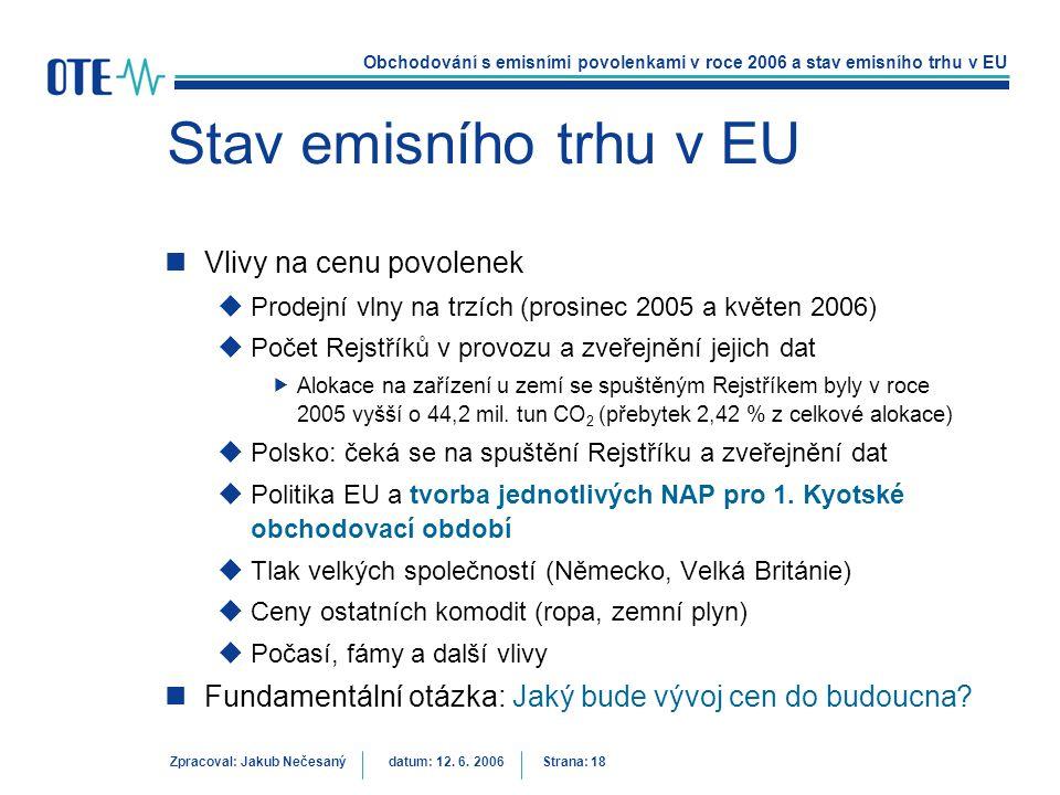 Obchodování s emisními povolenkami v roce 2006 a stav emisního trhu v EU Zpracoval: Jakub Nečesanýdatum: 12. 6. 2006 Strana: 18 Stav emisního trhu v E