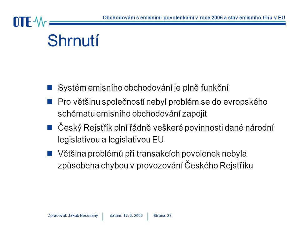Obchodování s emisními povolenkami v roce 2006 a stav emisního trhu v EU Zpracoval: Jakub Nečesanýdatum: 12. 6. 2006 Strana: 22 Shrnutí Systém emisníh
