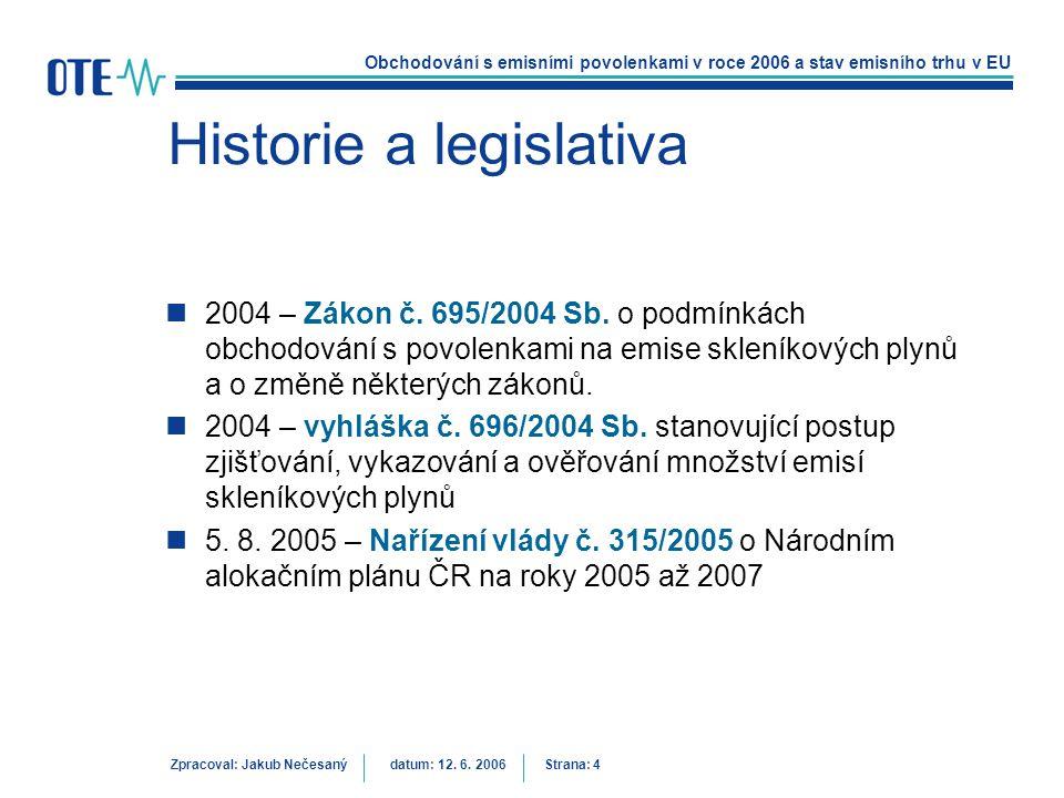 Obchodování s emisními povolenkami v roce 2006 a stav emisního trhu v EU Zpracoval: Jakub Nečesanýdatum: 12. 6. 2006 Strana: 4 Historie a legislativa