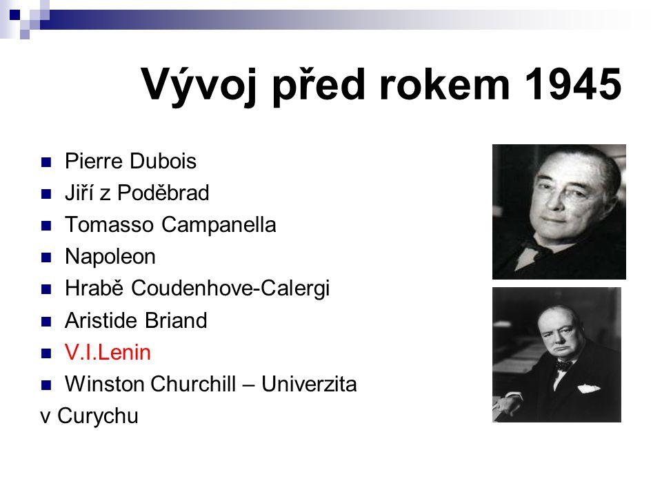 Vývoj před rokem 1945 Pierre Dubois Jiří z Poděbrad Tomasso Campanella Napoleon Hrabě Coudenhove-Calergi Aristide Briand V.I.Lenin Winston Churchill –