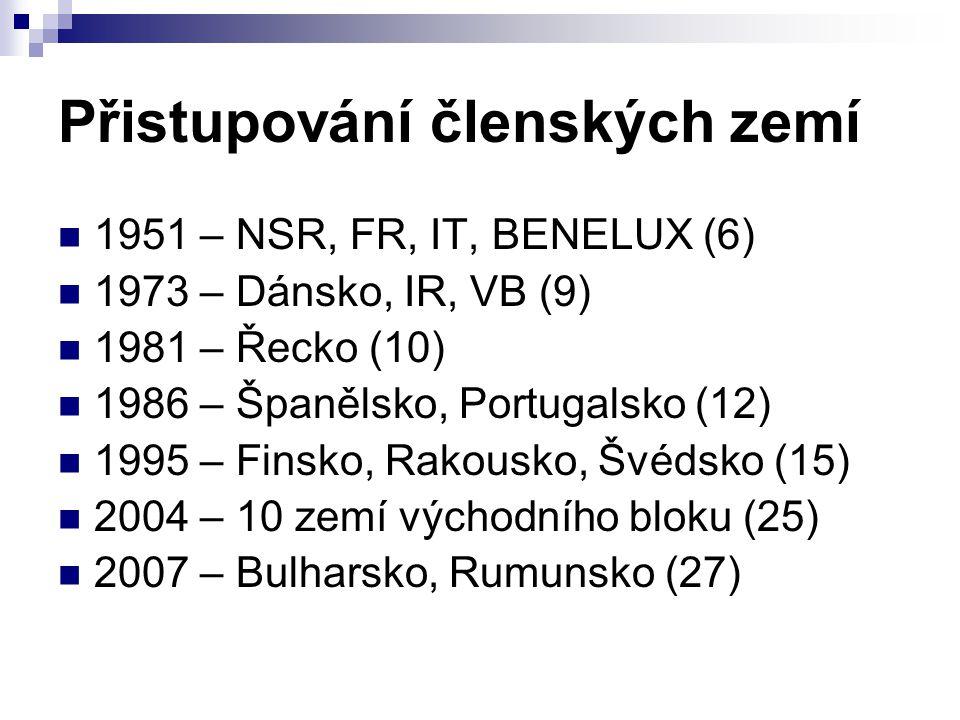 Přistupování členských zemí 1951 – NSR, FR, IT, BENELUX (6) 1973 – Dánsko, IR, VB (9) 1981 – Řecko (10) 1986 – Španělsko, Portugalsko (12) 1995 – Fins