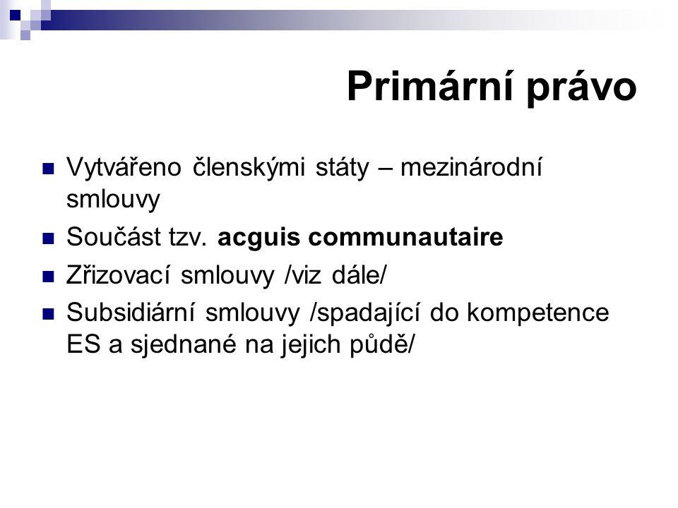 Vytvářeno členskými státy – mezinárodní smlouvy Součást tzv. acguis communautaire Zřizovací smlouvy /viz dále/ Subsidiární smlouvy /spadající do kompe