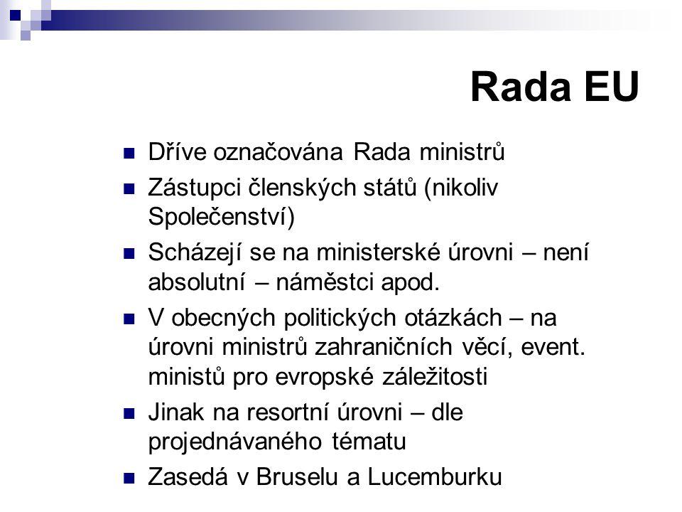Rada EU Dříve označována Rada ministrů Zástupci členských států (nikoliv Společenství) Scházejí se na ministerské úrovni – není absolutní – náměstci a
