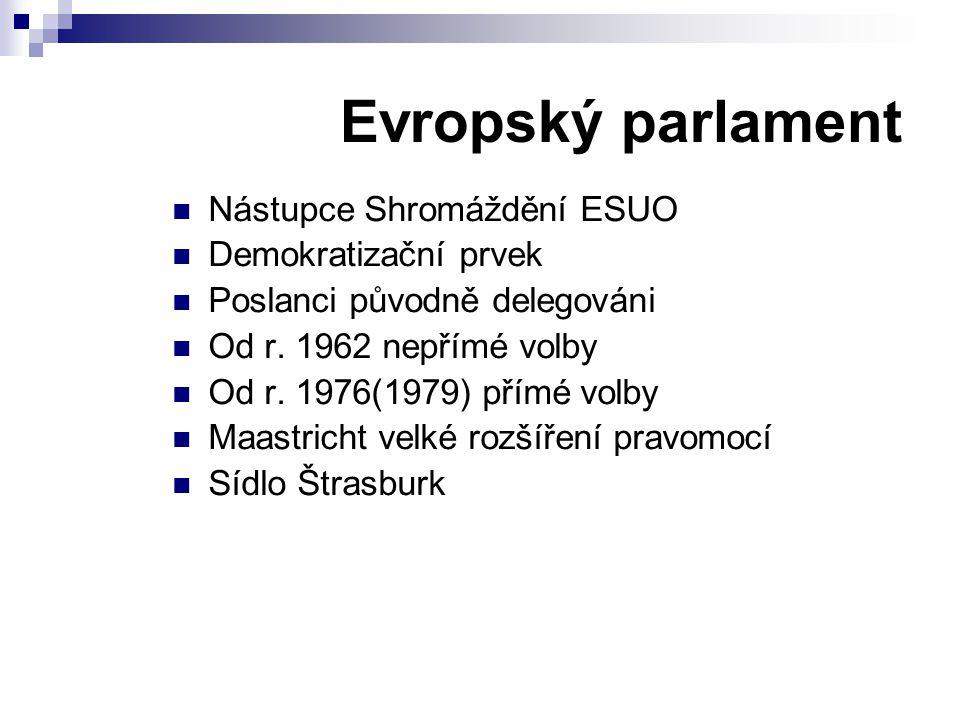 Evropský parlament Nástupce Shromáždění ESUO Demokratizační prvek Poslanci původně delegováni Od r. 1962 nepřímé volby Od r. 1976(1979) přímé volby Ma