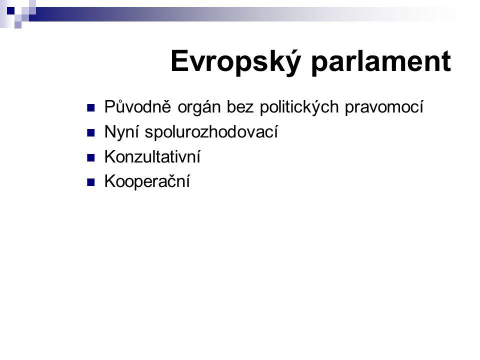 Evropský parlament Původně orgán bez politických pravomocí Nyní spolurozhodovací Konzultativní Kooperační
