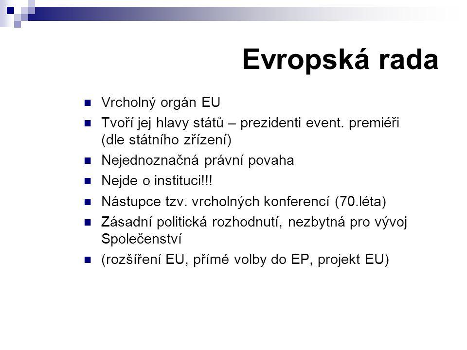 Evropská rada Vrcholný orgán EU Tvoří jej hlavy států – prezidenti event. premiéři (dle státního zřízení) Nejednoznačná právní povaha Nejde o instituc