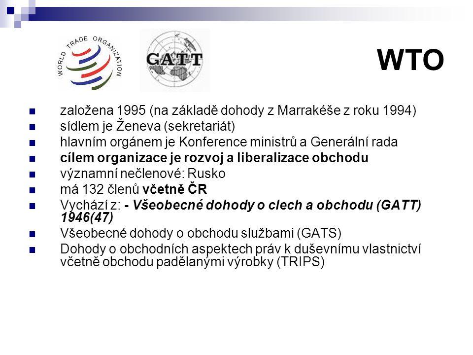 WTO založena 1995 (na základě dohody z Marrakéše z roku 1994) sídlem je Ženeva (sekretariát) hlavním orgánem je Konference ministrů a Generální rada c