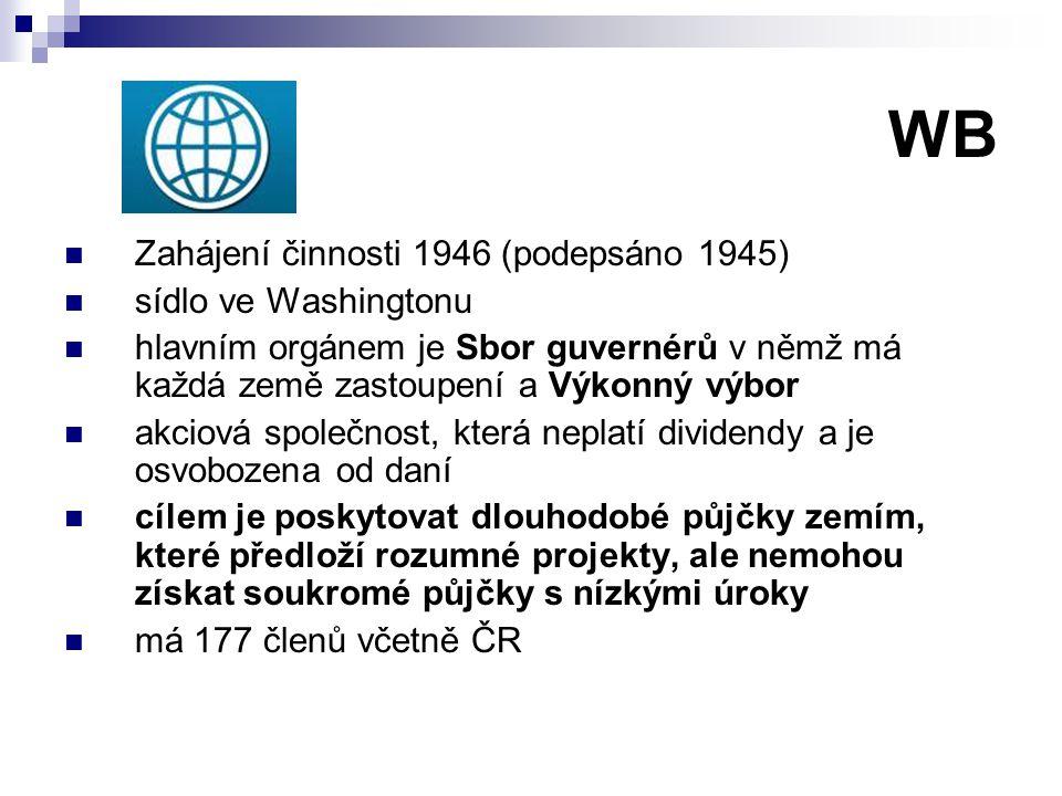 WB Zahájení činnosti 1946 (podepsáno 1945) sídlo ve Washingtonu hlavním orgánem je Sbor guvernérů v němž má každá země zastoupení a Výkonný výbor akci