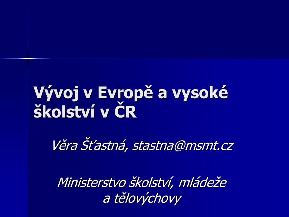 Vývoj v Evropě a vysoké školství v ČR Věra Šťastná, stastna@msmt.cz Ministerstvo školství, mládeže a tělovýchovy
