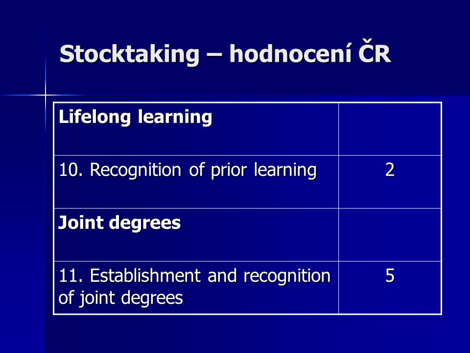 Stocktaking – hodnocení ČR Lifelong learning 10. Recognition of prior learning 2 Joint degrees 11.