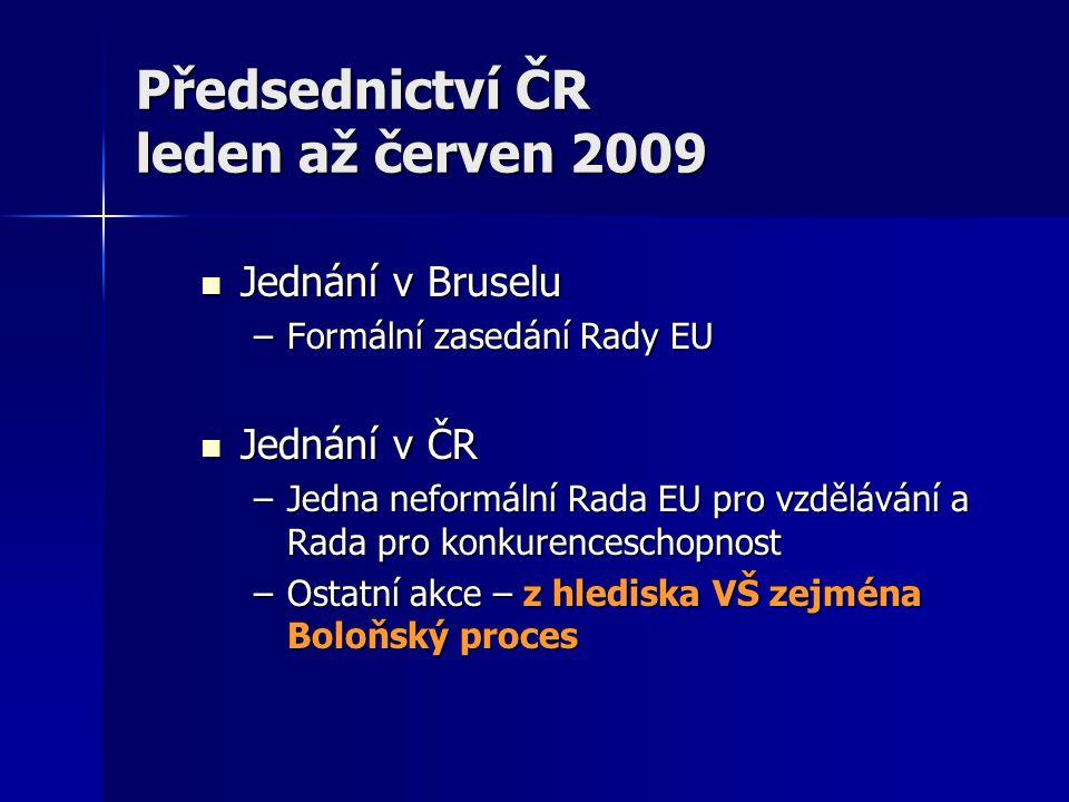 Předsednictví ČR leden až červen 2009 Jednání v Bruselu Jednání v Bruselu –Formální zasedání Rady EU Jednání v ČR Jednání v ČR –Jedna neformální Rada EU pro vzdělávání a Rada pro konkurenceschopnost –Ostatní akce – z hlediska VŠ zejména Boloňský proces