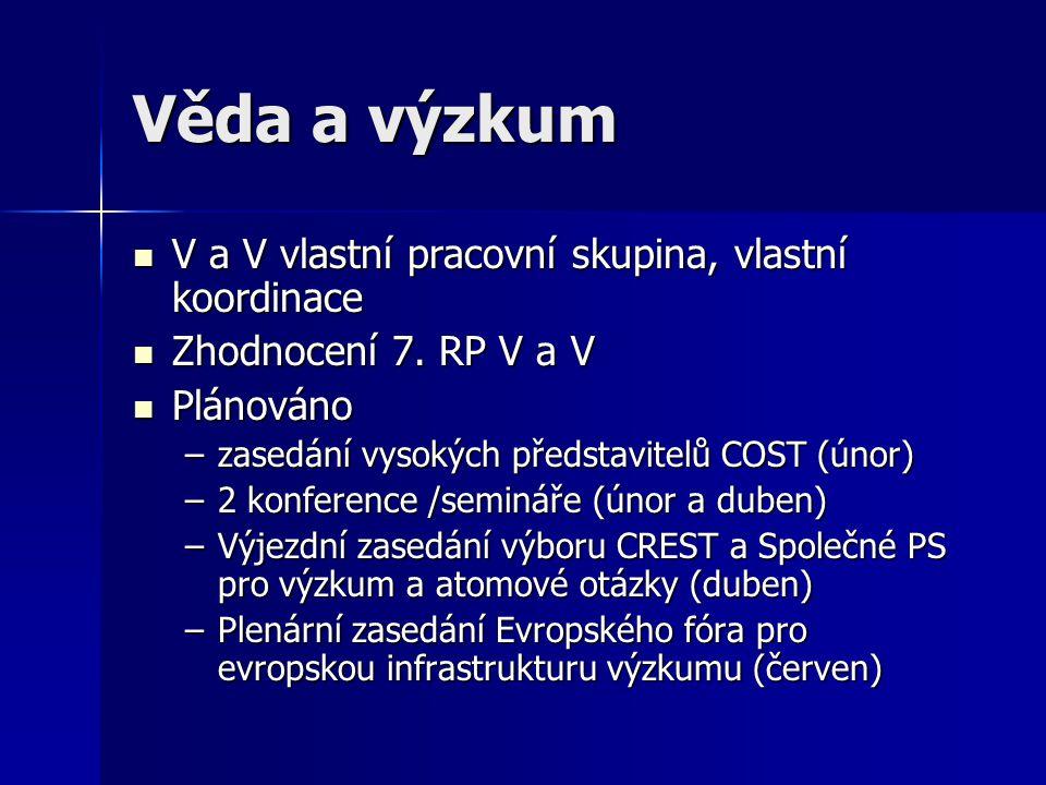 Věda a výzkum V a V vlastní pracovní skupina, vlastní koordinace V a V vlastní pracovní skupina, vlastní koordinace Zhodnocení 7.