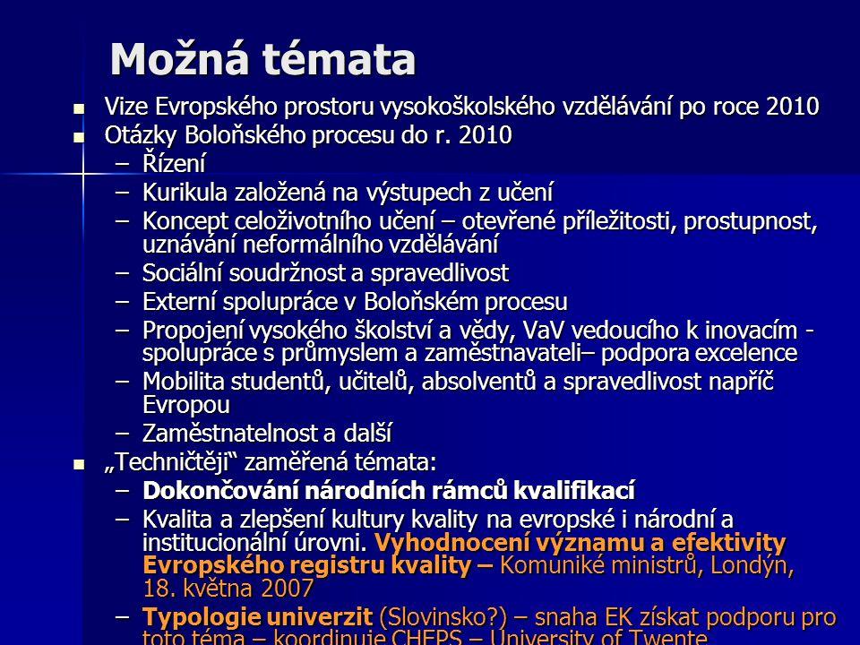 Možná témata Vize Evropského prostoru vysokoškolského vzdělávání po roce 2010 Vize Evropského prostoru vysokoškolského vzdělávání po roce 2010 Otázky Boloňského procesu do r.