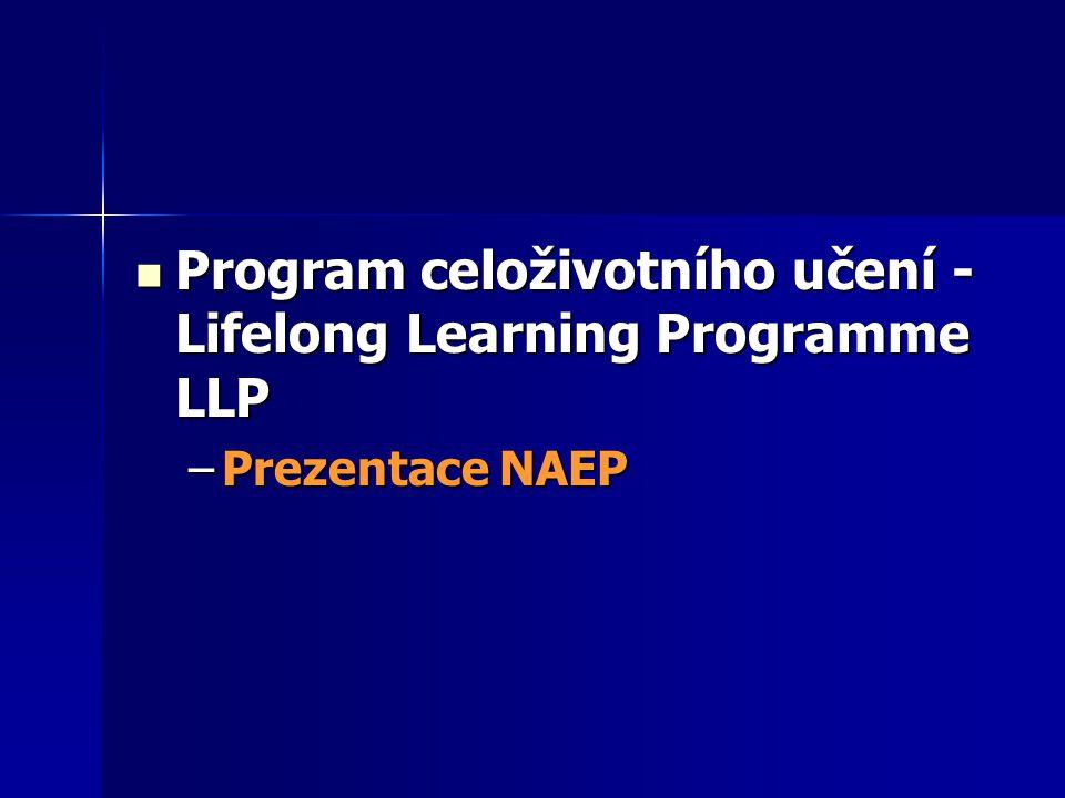 Program celoživotního učení - Lifelong Learning Programme LLP Program celoživotního učení - Lifelong Learning Programme LLP –Prezentace NAEP