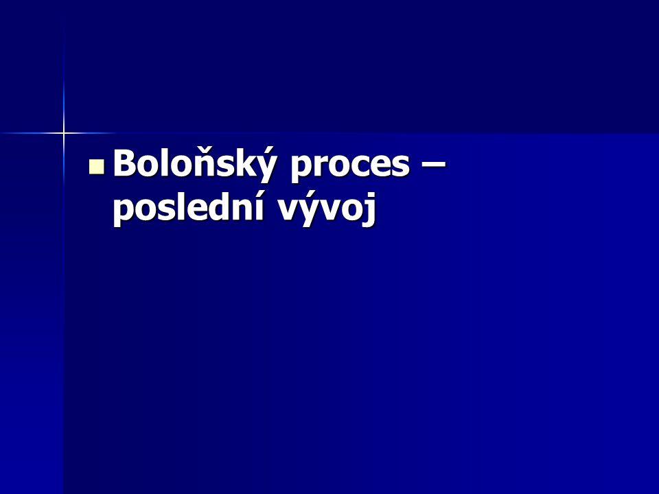 Boloňský proces – poslední vývoj Boloňský proces – poslední vývoj