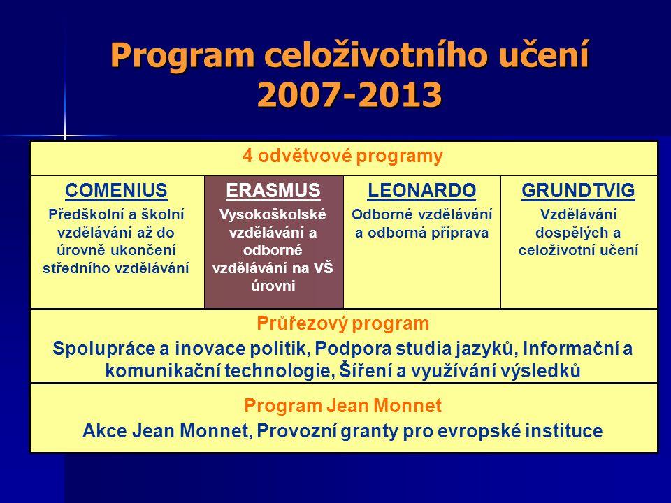 Program celoživotního učení 2007-2013 4 odvětvové programy Program Jean Monnet Akce Jean Monnet, Provozní granty pro evropské instituce Průřezový program Spolupráce a inovace politik, Podpora studia jazyků, Informační a komunikační technologie, Šíření a využívání výsledků GRUNDTVIG Vzdělávání dospělých a celoživotní učení LEONARDO Odborné vzdělávání a odborná příprava ERASMUS Vysokoškolské vzdělávání a odborné vzdělávání na VŠ úrovni COMENIUS Předškolní a školní vzdělávání až do úrovně ukončení středního vzdělávání