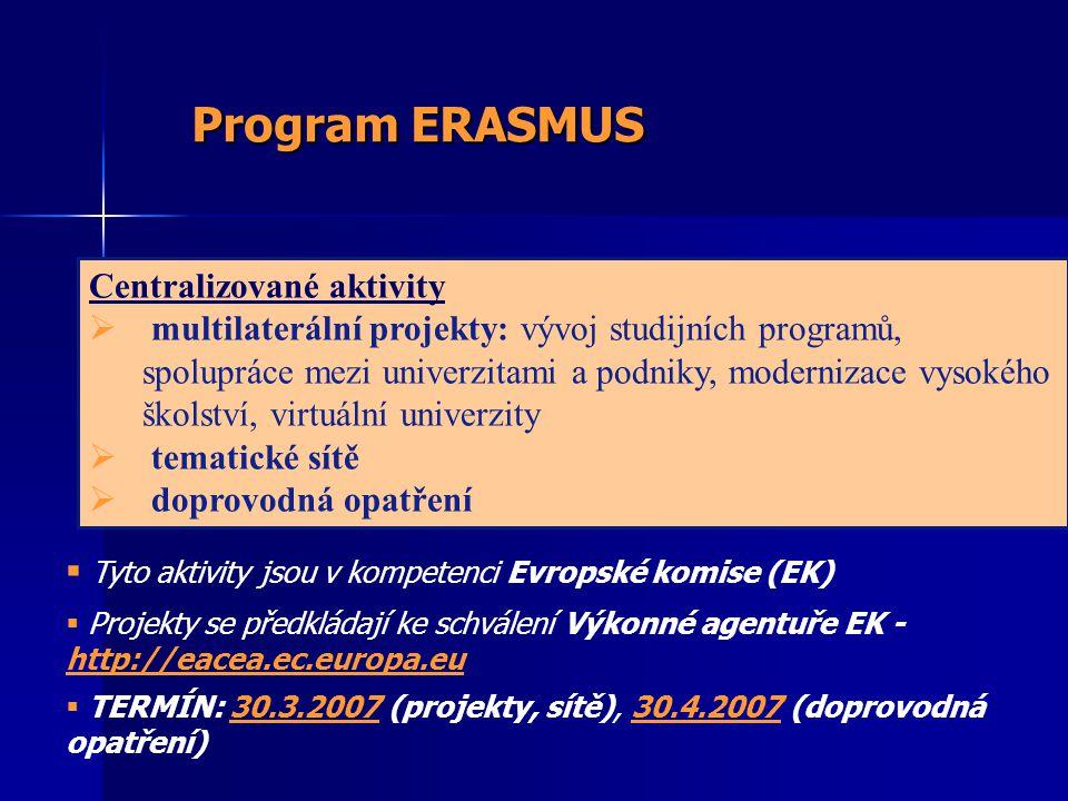 Centralizované aktivity  multilaterální projekty: vývoj studijních programů, spolupráce mezi univerzitami a podniky, modernizace vysokého školství, virtuální univerzity  tematické sítě  doprovodná opatření Program ERASMUS  Tyto aktivity jsou v kompetenci Evropské komise (EK)  Projekty se předkládají ke schválení Výkonné agentuře EK - http://eacea.ec.europa.eu  TERMÍN: 30.3.2007 (projekty, sítě), 30.4.2007 (doprovodná opatření)