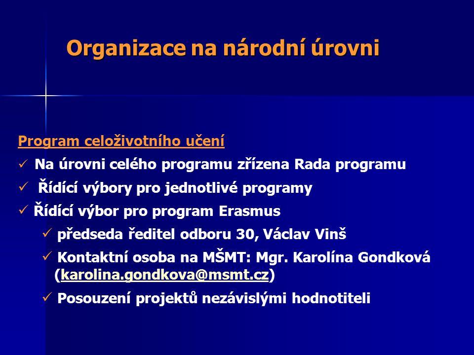 Program celoživotního učení Na úrovni celého programu zřízena Rada programu Řídící výbory pro jednotlivé programy Řídící výbor pro program Erasmus předseda ředitel odboru 30, Václav Vinš Kontaktní osoba na MŠMT: Mgr.