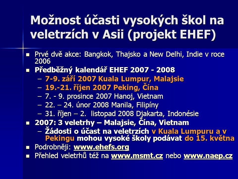 Možnost účasti vysokých škol na veletrzích v Asii (projekt EHEF) Prvé dvě akce: Bangkok, Thajsko a New Delhi, Indie v roce 2006 Prvé dvě akce: Bangkok, Thajsko a New Delhi, Indie v roce 2006 Předběžný kalendář EHEF 2007 - 2008 Předběžný kalendář EHEF 2007 - 2008 –7-9.